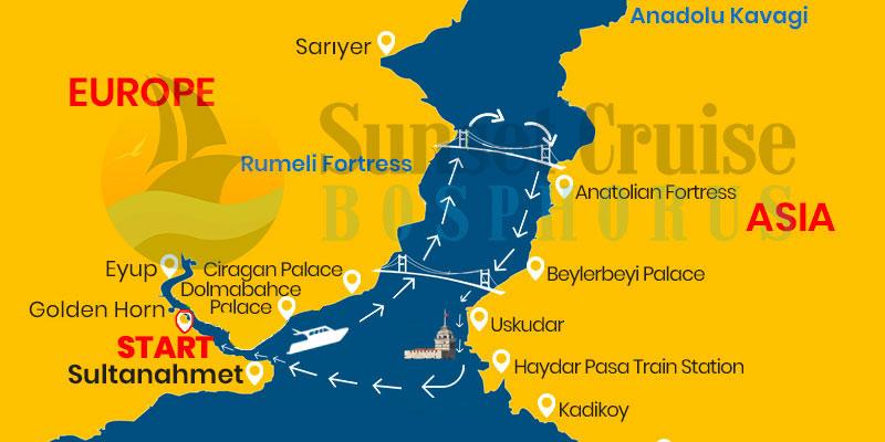 sunset cruise map